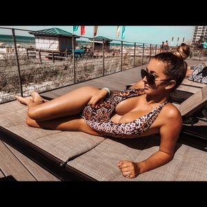 One piece bikini medium halter leopard zebra print